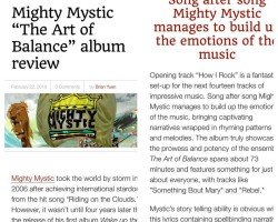 Top Shelf Reggae News gives Mighty Mystic The Art of Balance album a HUGE Thumbs up!